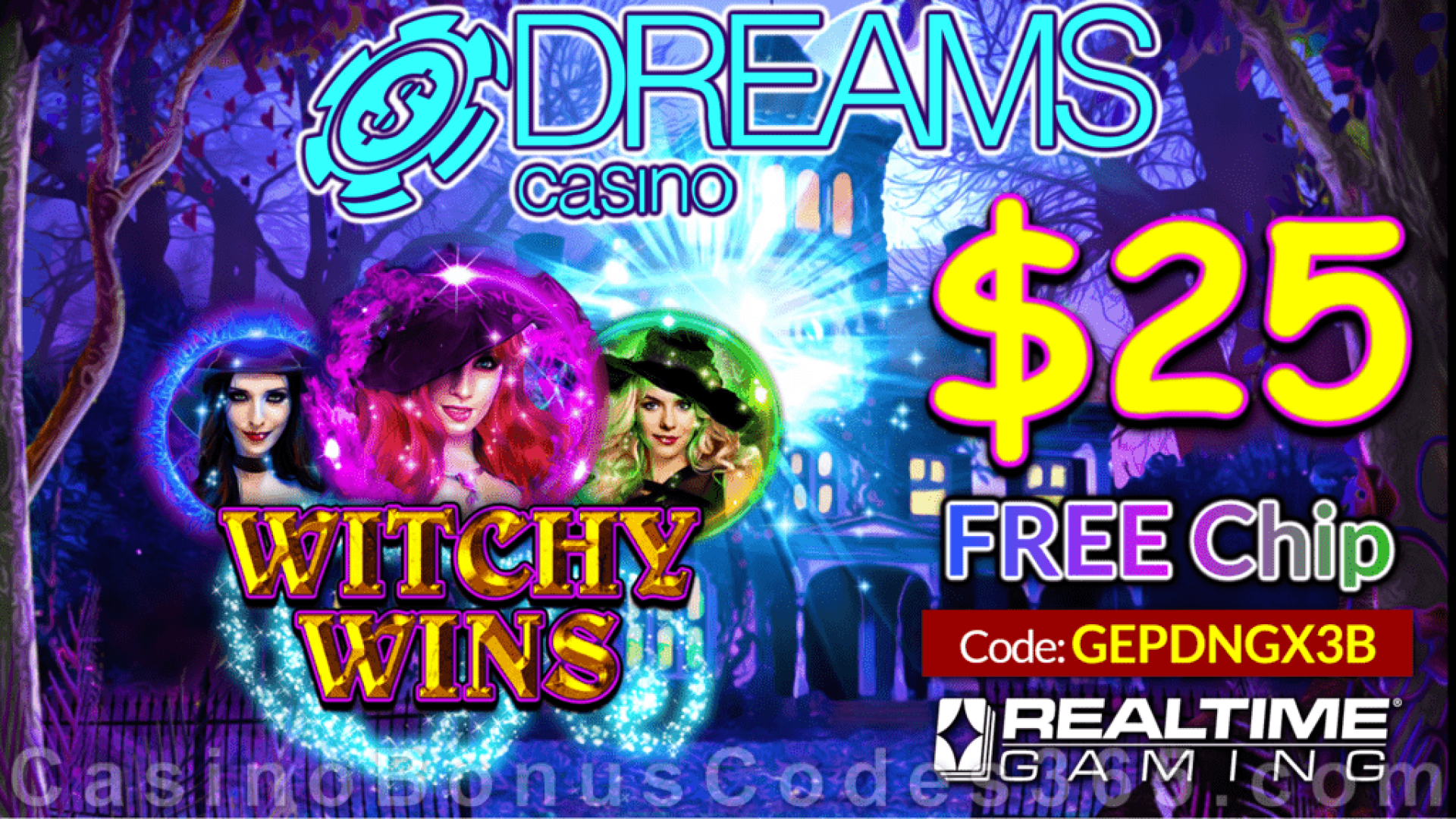 Dreams Casino $25 FREE Chip New RTG Game  Witchy Wins No Deposit Promo