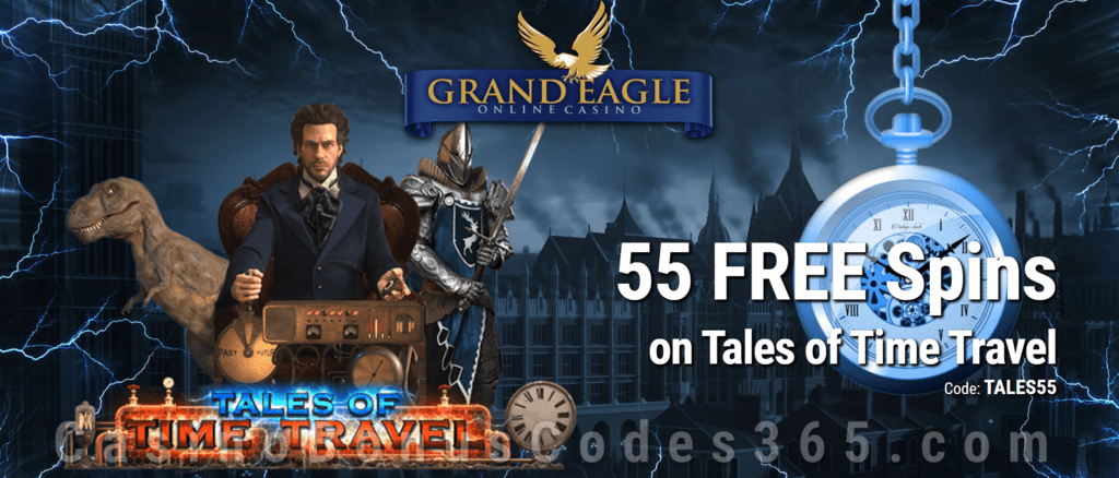 Grand Eagle Casino Exclusive 55 FREE Spins on Saucify Tales of Time Travel Special Deal