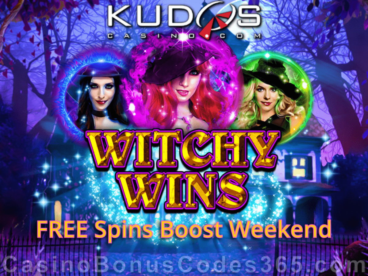 Kudos Casino RTG Witchy Wins FREE Spins Boost Weekend
