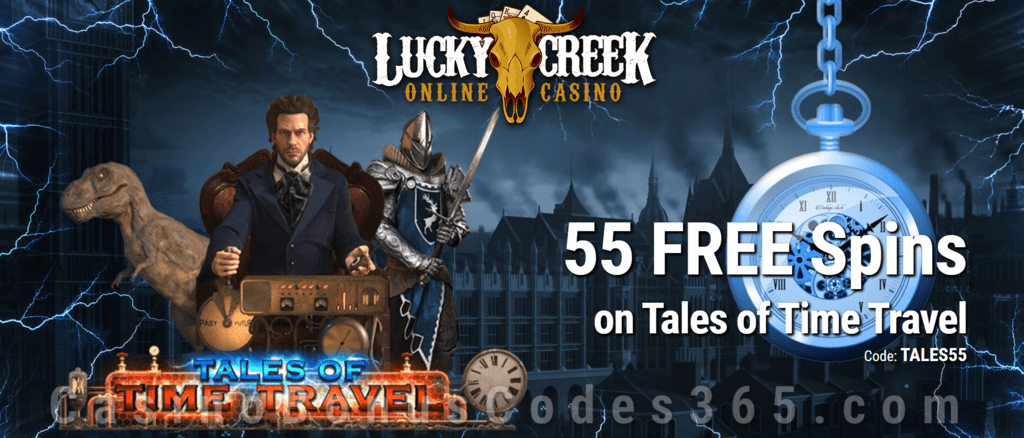 Lucky Creek Exclusive 55 FREE Saucify Tales of Time Travel Spins Special Deal