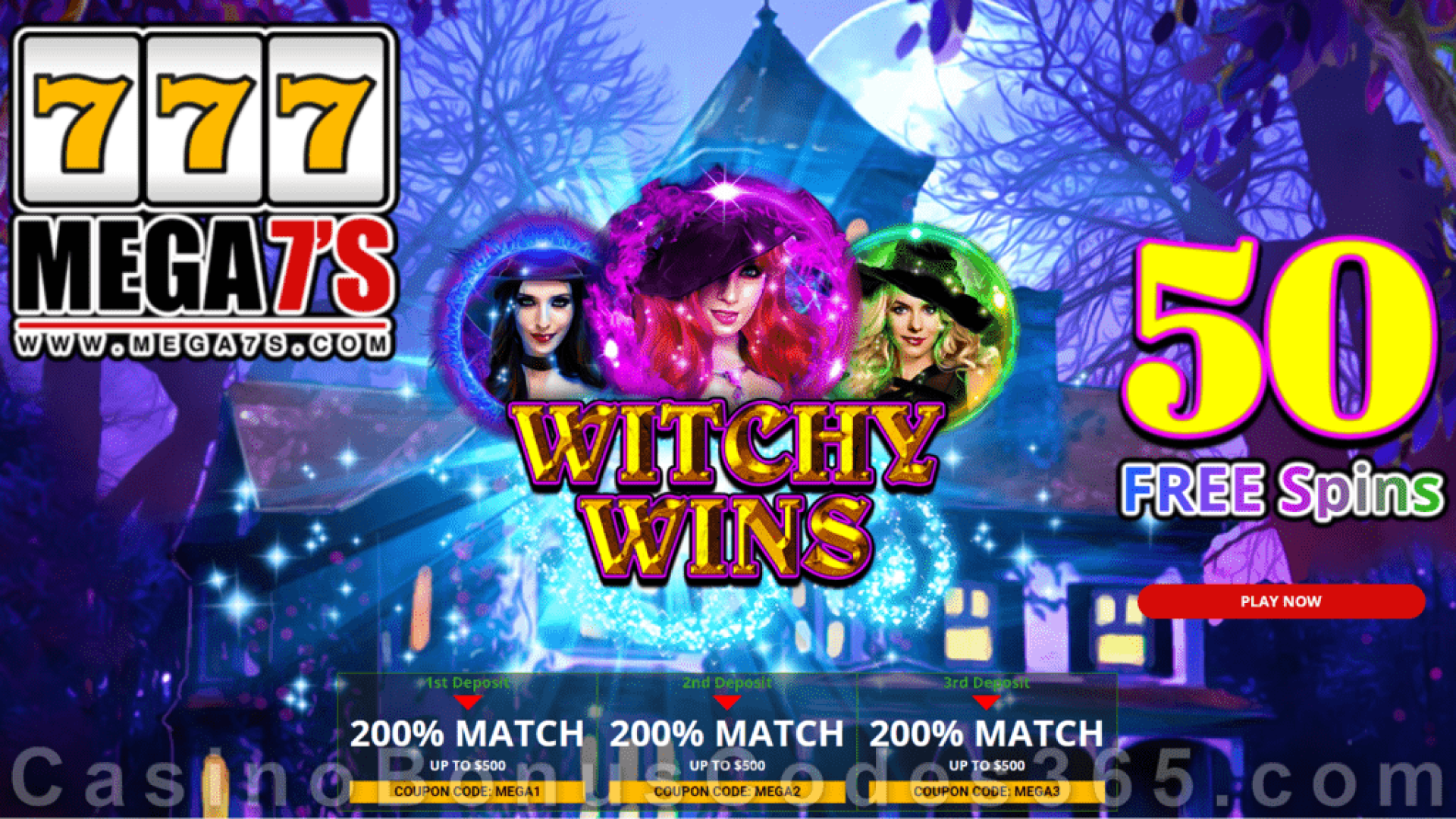 Mega7s Casino 50 FREE Spins New RTG Game Witchy Wins Offer