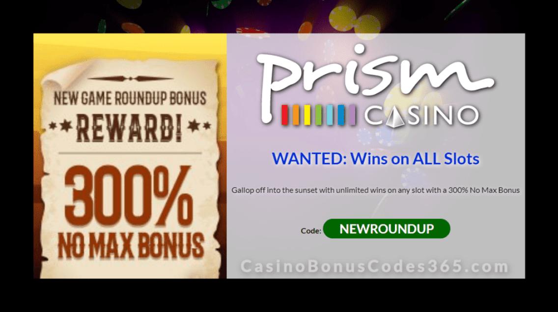 Prism Casino New Game Roundup 300% Match Bonus RTG Wild Hog Luau Cash Bandits 3 Achilles Deluxe