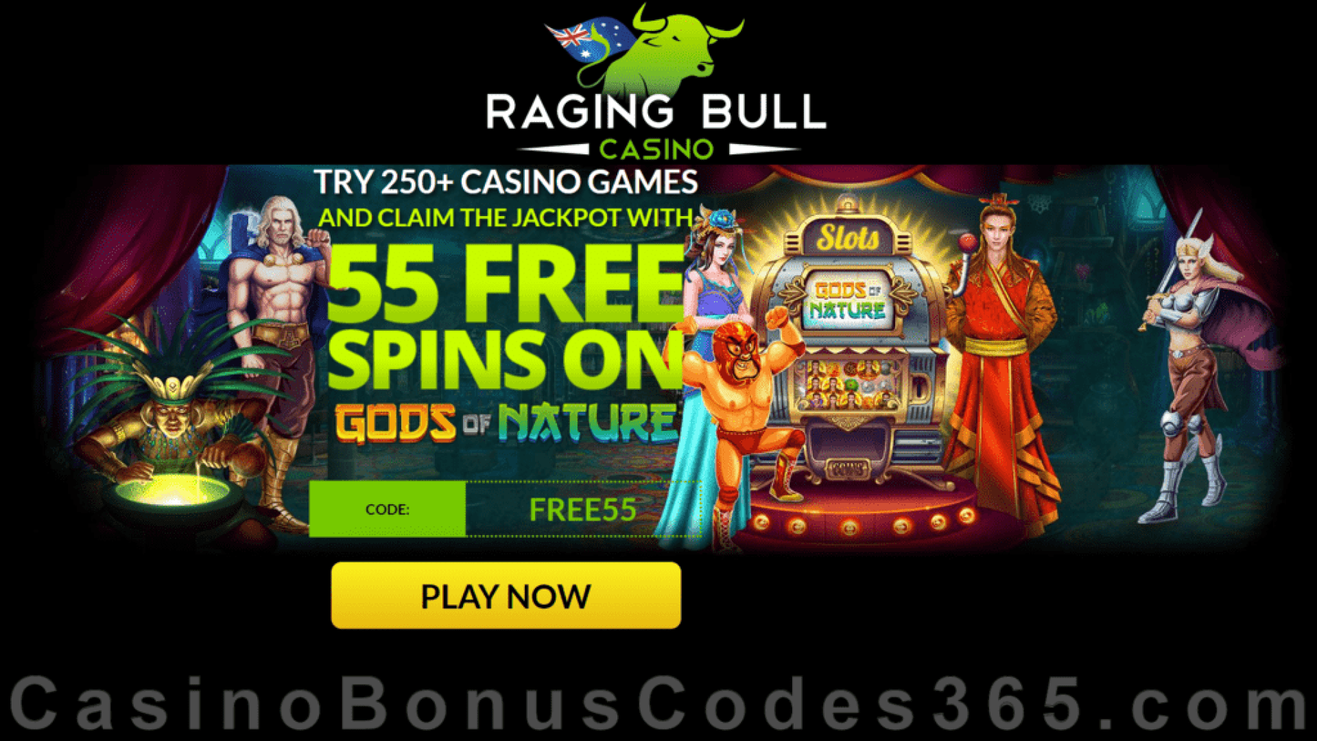 Raging Bull Casino AUD 55 FREE Spins on RTG Gods of Nature Australia