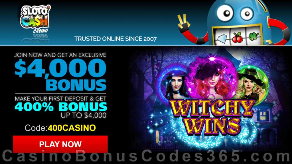 SlotoCash Casino RTG Witchy Wins 400% Welcome Bonus