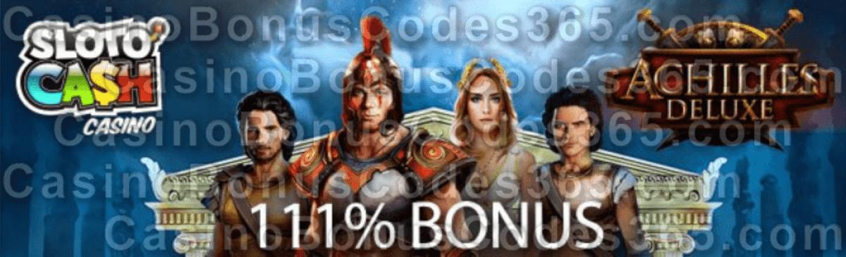SlotoCash Casino RTG Achilles Deluxe The Trojan War Hero Returns Bonus Package