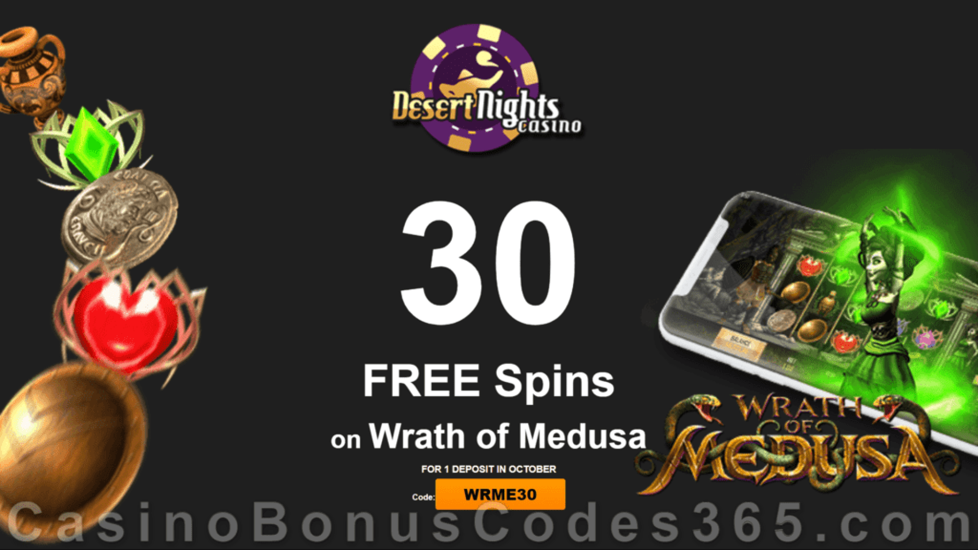 Desert Nights Casino 30 FREE Rival Gaming Wrath of Medusa Spins Special Deposit Offer
