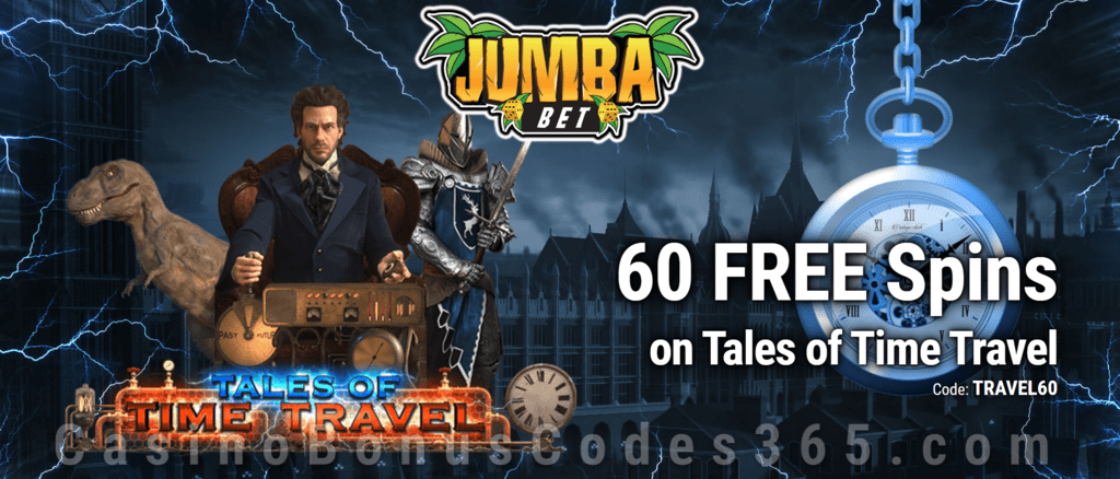 Jumba Bet Exclusive 60 FREE Saucify Tales of Time Travel Spins No Deposit Offer for All Players