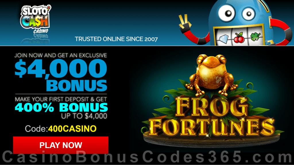 SlotoCash Casino RTG Frog Fortunes 400% Welcome Bonus