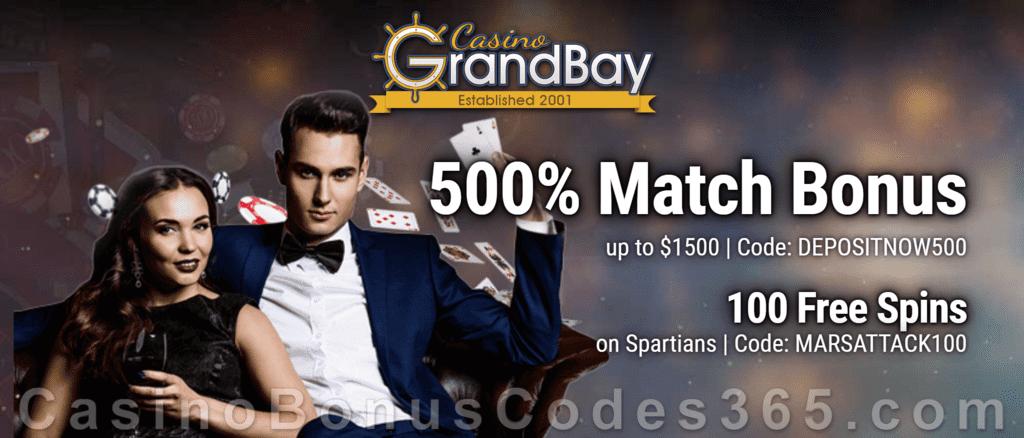 Casino Grand Bay 100 FREE Saucify Spartians Spins plus 500% Match Mega Welcome Bonus