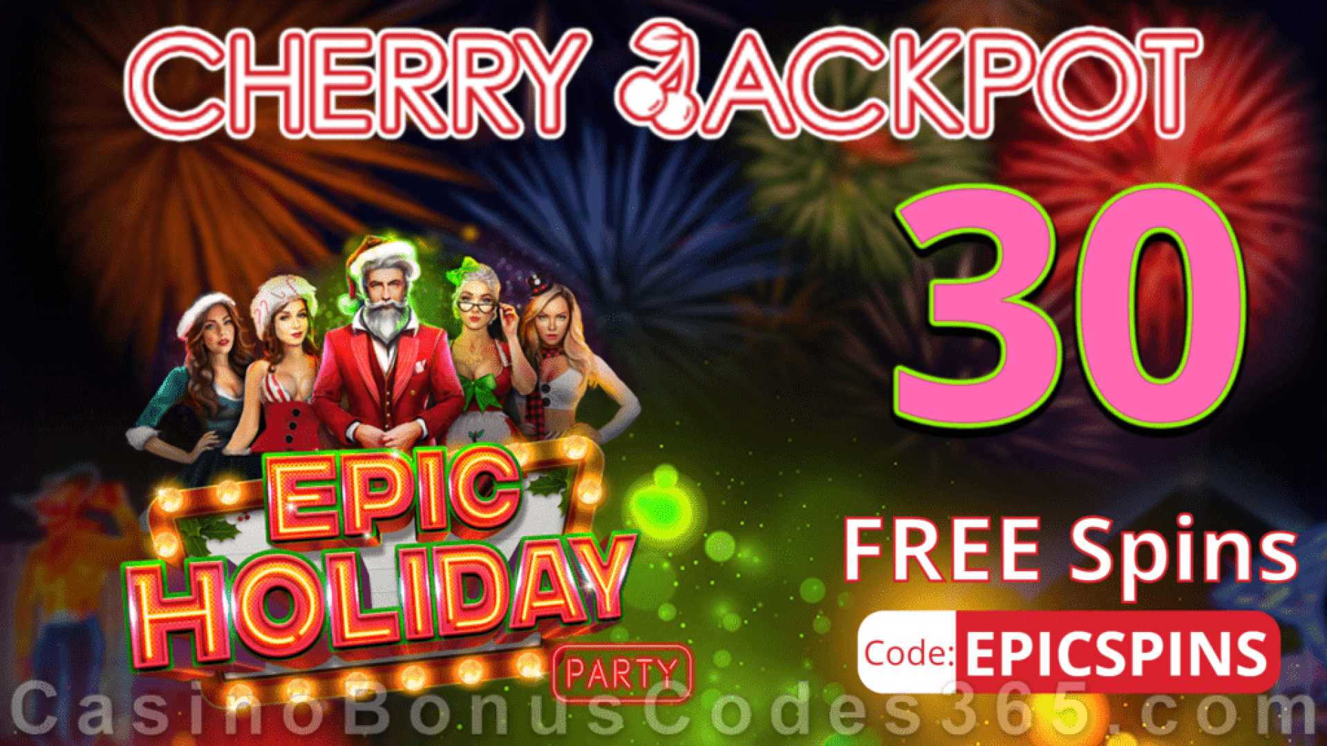 Cherry Jackpot 30 FREE Spins on Epic Holiday Party New RTG Game No Deposit Special Deal