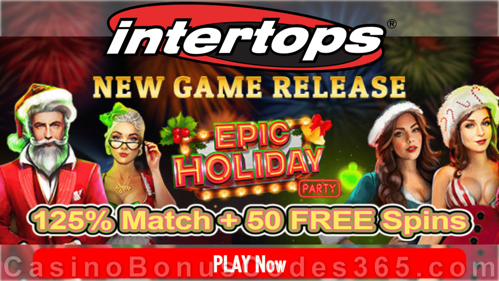 Intertops Casino Red 125% Bonus plus 50 FREE Spins on Epic Holiday Party New RTG Game Special Deal