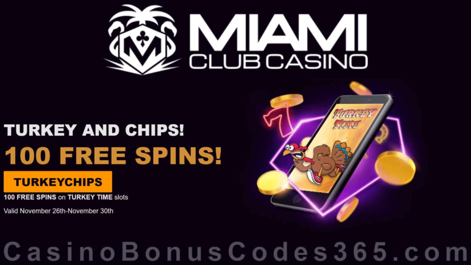 Miami Club Casino 100 FREE Spins on WGS Turkey Time Mega Thanksgiving Deal