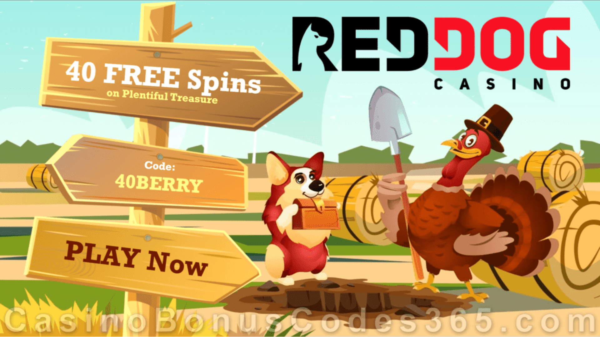 Red Dog Casino 40 FREE Spins on RTG Plentiful Treasure Special Thanksgiving No Deposit Promo