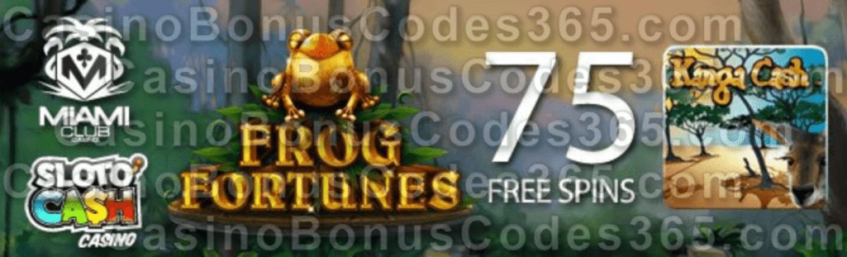 SlotoCash Casino and Miami Club Casino Special November Promotion WGS Kanga Cash Cool Bananas RTG Frog Fortunes