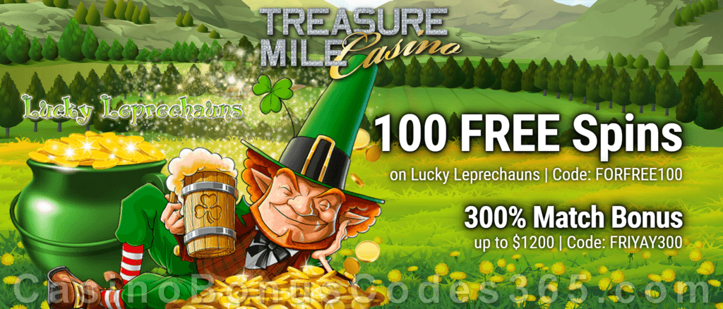 Treasure Mile Casino 100 FREE Spins on Saucify Lucky Leprechauns plus 300% Match Bonus Black Friday Offer