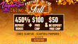 Vegas Rush Casino $50 No Deposit FREE Chip and 450% Match plus $100 FREE Chip Fortune in the Fall Mega Offer