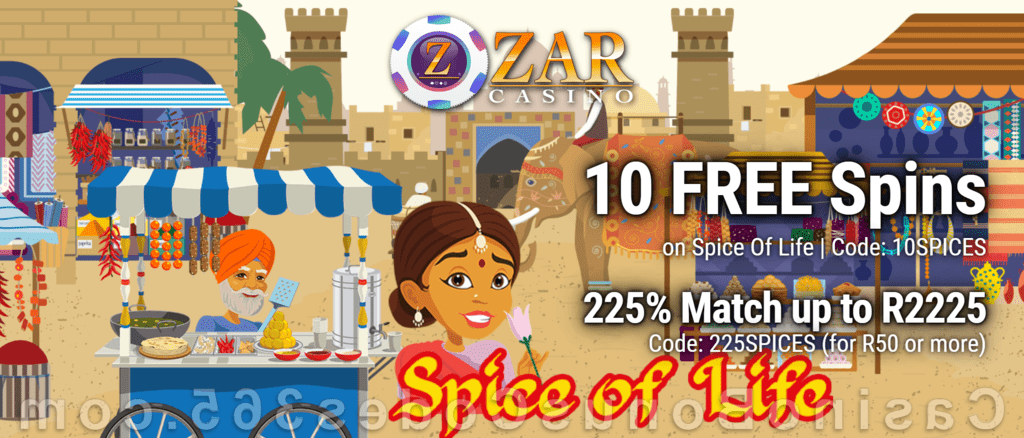 ZAR Casino 10 FREE Spins on Saucify Spice of Life plus 225% Match Bonus New Players Promotion