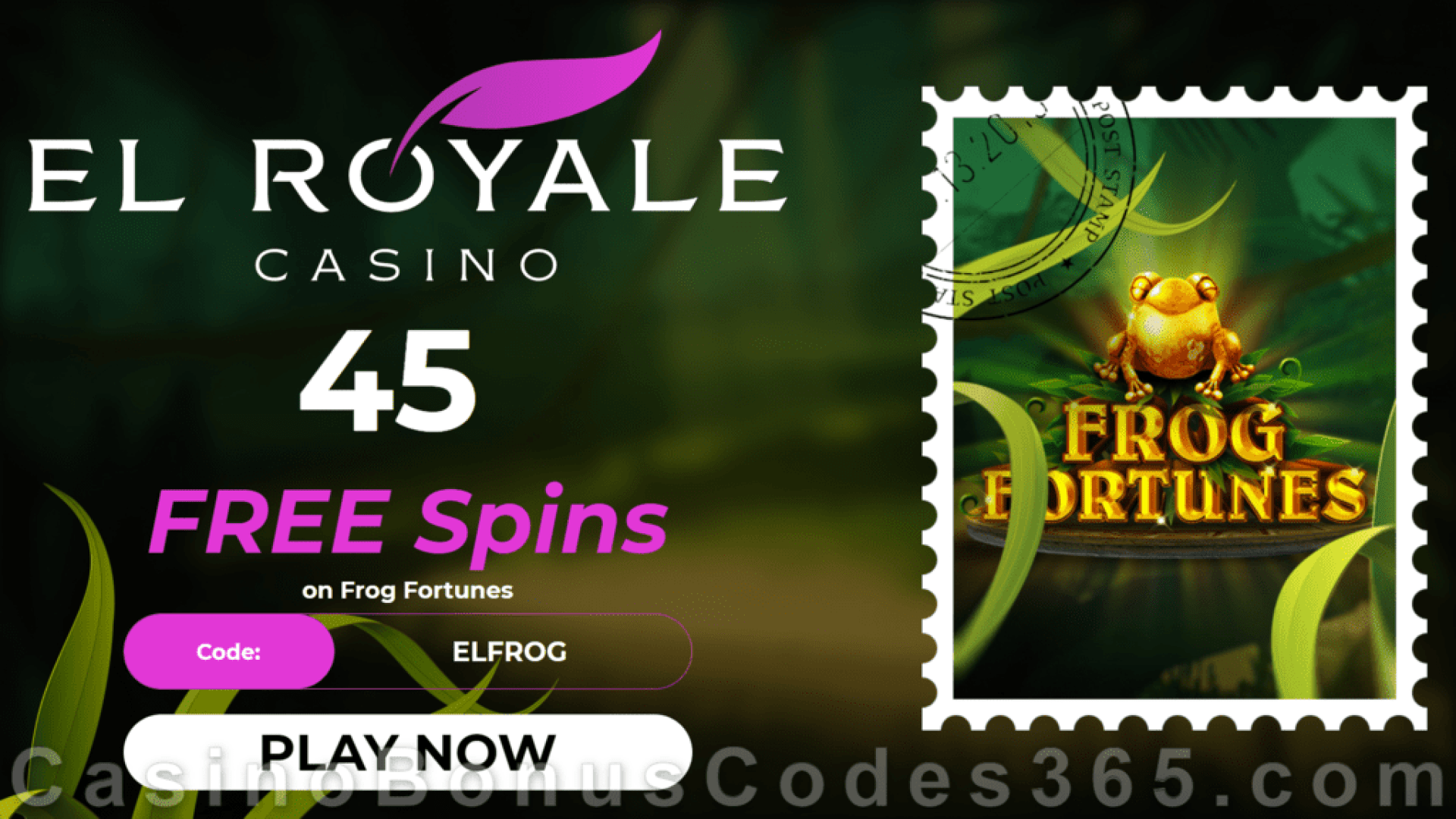El Royale Casino 45 FREE Spins RTG Frog Fortunes Special No Deposit Welcome Deal