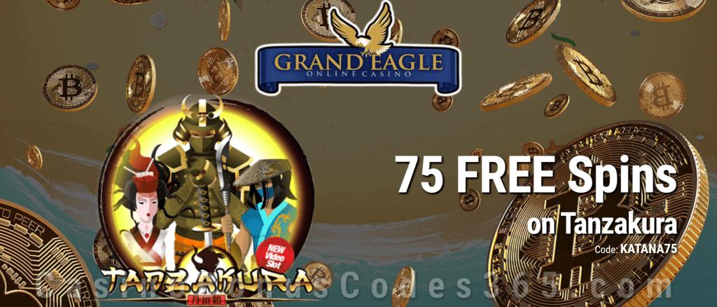 Grand Eagle Casino Saucify Tanzakura 75 No Deposit FREE Spins Special Promo