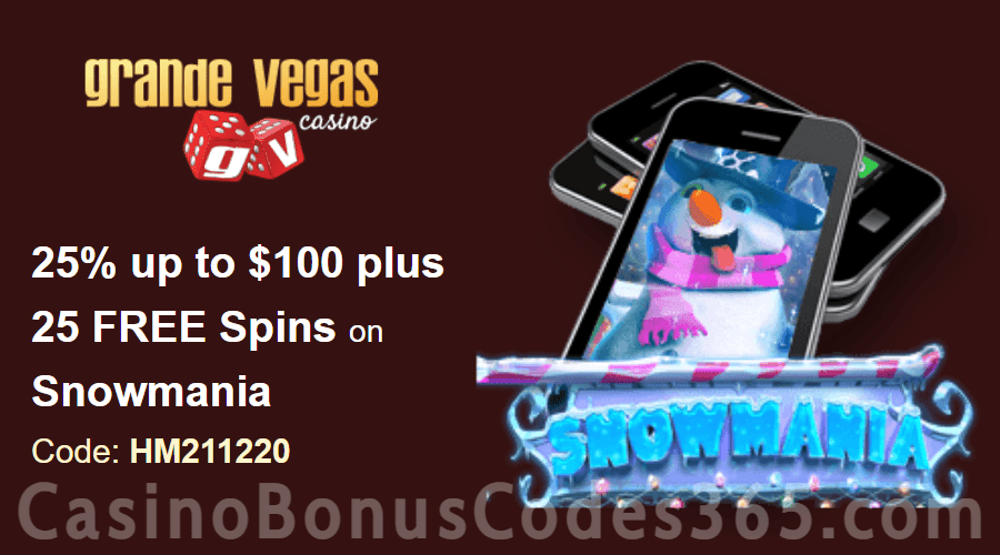 Grande Vegas Casino 25% Match up to $100 plus 50 FREE Spins on RTG Snowmania Special Deposit Deal