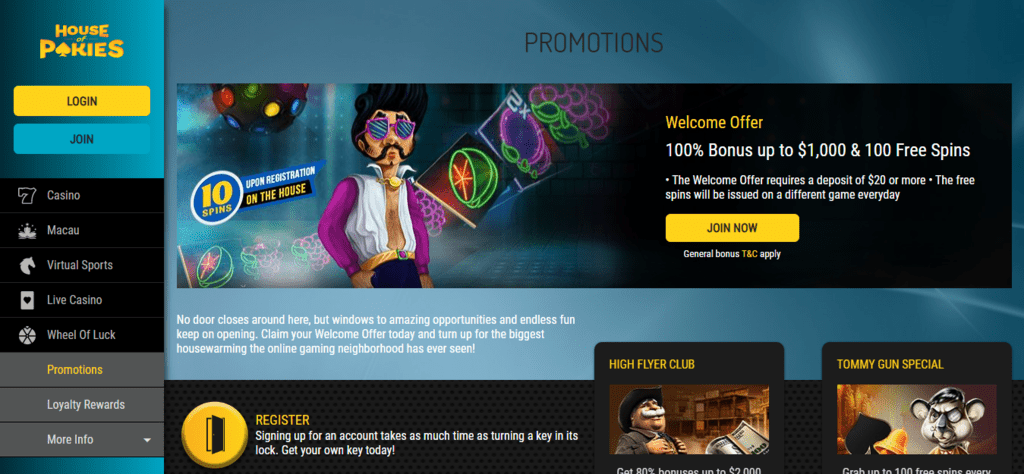 House of Pokies Welcome Bonus