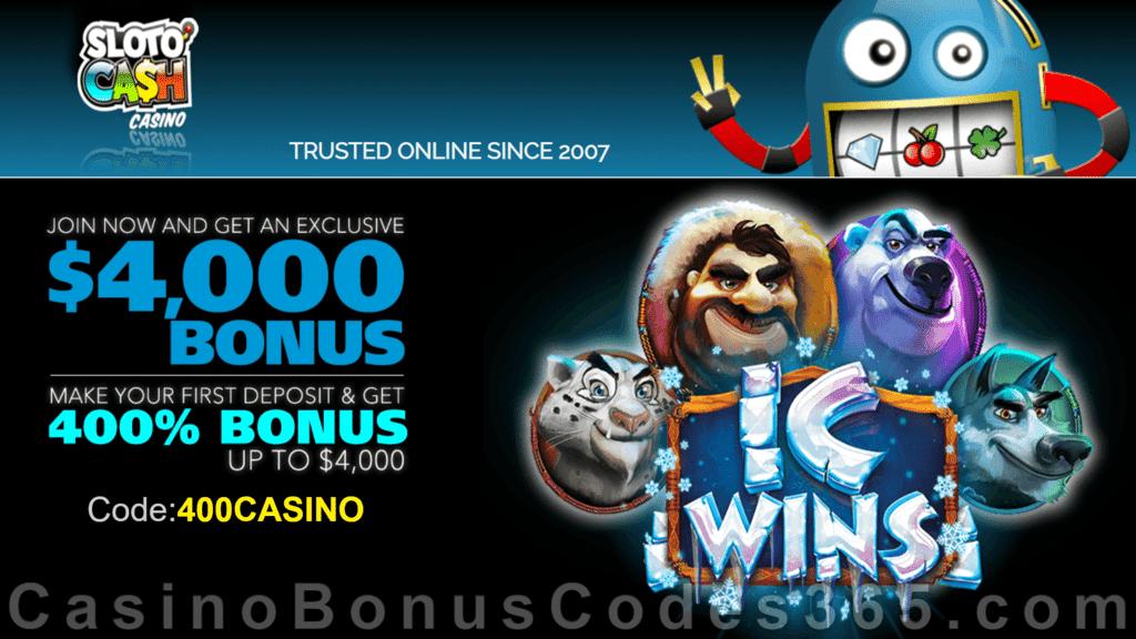 Slotocash Casino New Rtg Game Ic Wins 400 Match Up To 4000 Welcome Bonus Casino Bonus Codes 365