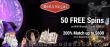 Bella Vegas Casino 50 FREE Saucify Wild Wizards Spins plus 200% Match Bonus Exclusive Offer