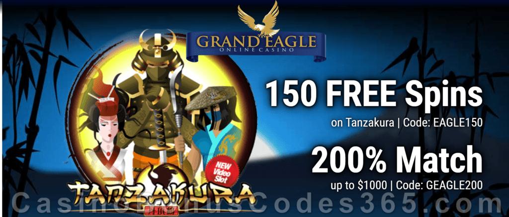 Grand Eagle Casino 150 FREE Spins on Saucify Tanzakura plus 200% Match Bonus Mega Offer