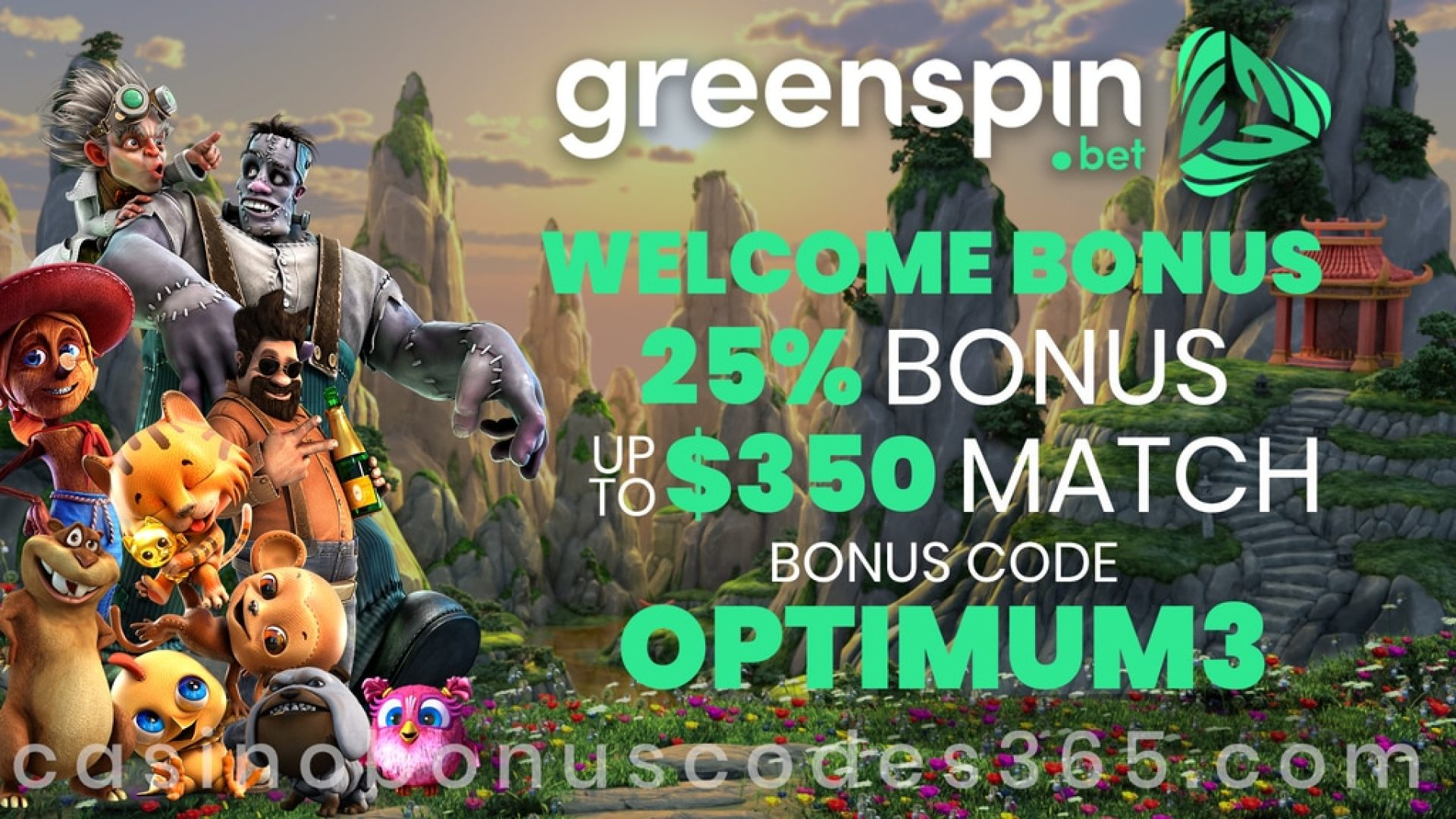 GreenSpin 25% Match up to $350 Bonus Welcome Promotion