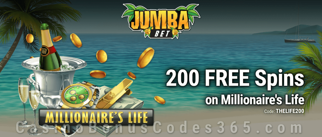 Jumba Bet Exclusive No Deposit 200  FREE Saucify Millionaire's Life Spins Offer