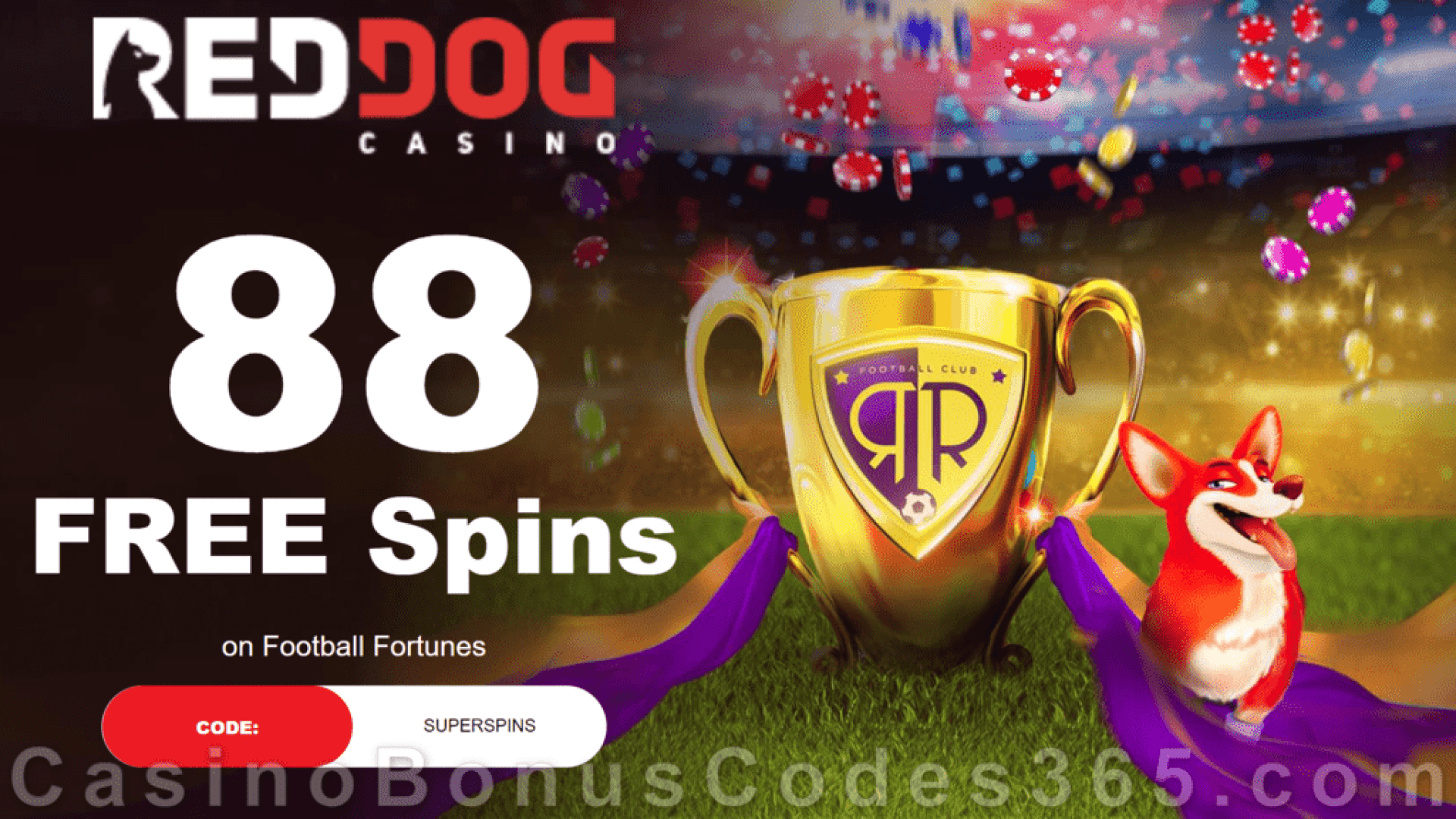 Red Dog Casino 88 FREE Spins on Football Fortunes Special Deposit Offer