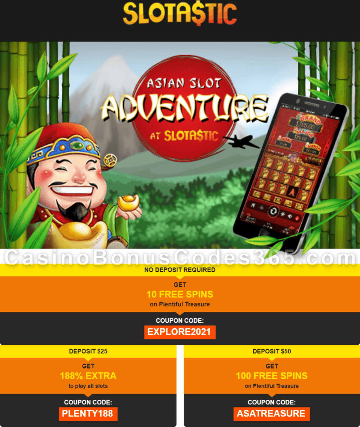 Slotastic Online Casino Special Chinese New Year Offer RTG Plentiful Treasure