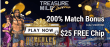 Treasure Mile Casino 200% Match plus $25 FREE Chip New Player Bonus Saucify