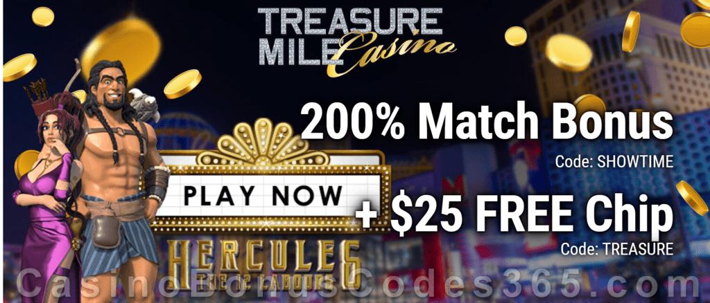Treasure Mile Casino 200% Match plus $25 FREE Chip New Player Bonus