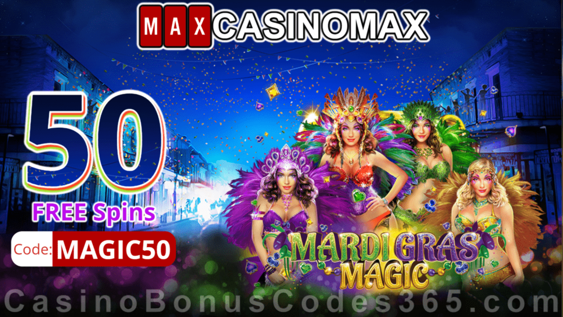 Casino Max New RTG Game 50 FREE Mardi Gras Magic Spins Special No Deposit Welcome Offer
