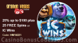 Grande Vegas Casino 25% up to $100 plus 50 FREE RTG IC Wins Spins Special Weekly Offer