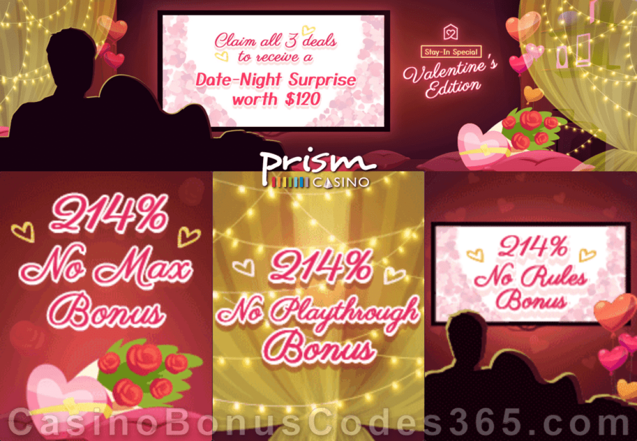 Prism Casino St. Valentine's Day 3 Loves 214% Match Bonuses Special Promotion