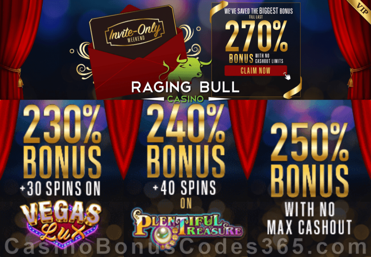 Raging Bull Casino Invite Only Weekend Super Bonus Pack RTG Vegas Lux Plentiful Treasure