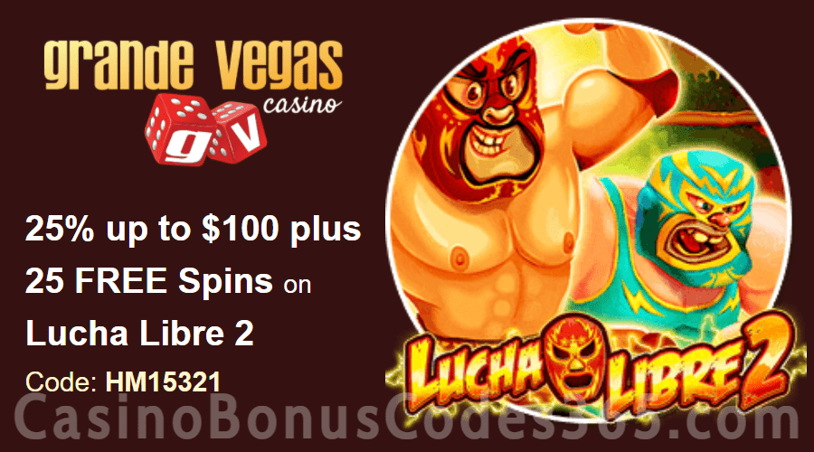 Grande Vegas Casino 25% up to $100 plus 50 FREE Spins on RTG RTG Lucha Libre 2 Special Offer