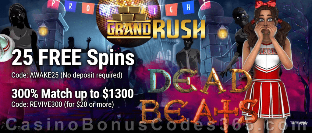 Grand Rush Exclusive New Genii Game 25 FREE Dead Beats Spins and 300% Match Special Welcome bonus Package