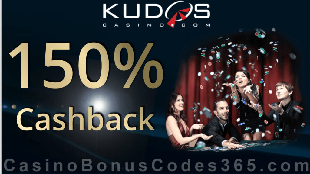 Kudos Casino 150% Cashback first day