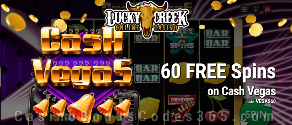 Lucky Creek 60 FREE Saucify Cash Vegas Spins Special No Deposit Deal