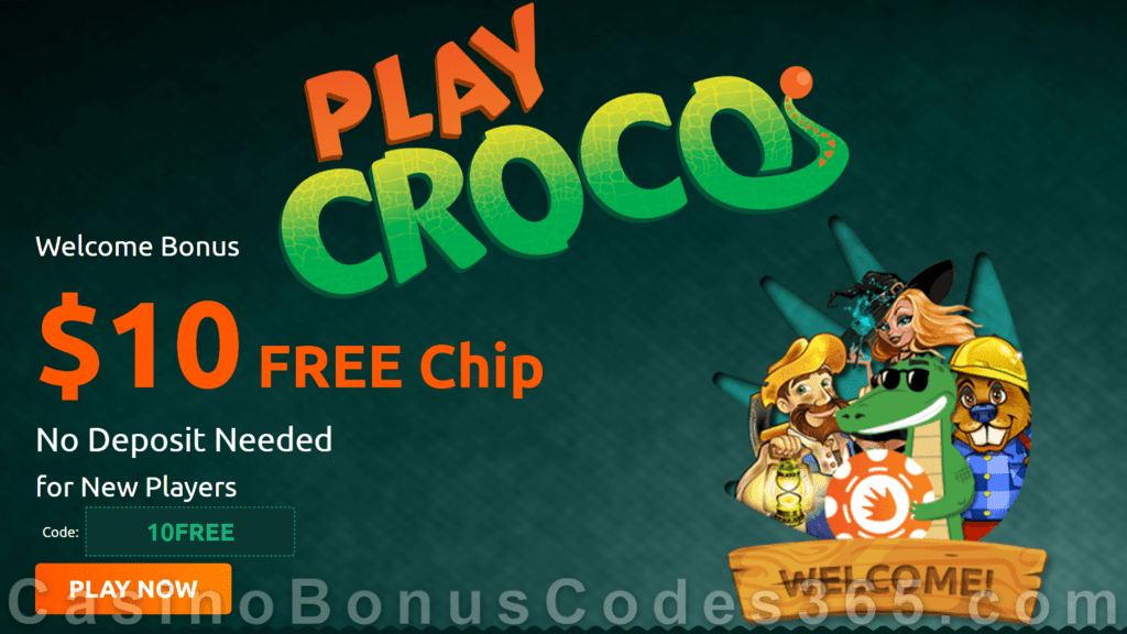 PlayCroco $10 FREE Chip New Casino Welcome Deal