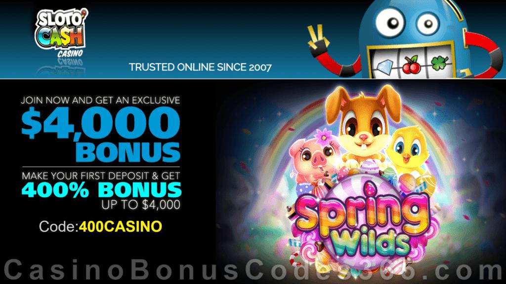 SlotoCash Casino RTG Spring Wilds 400% Welcome Bonus