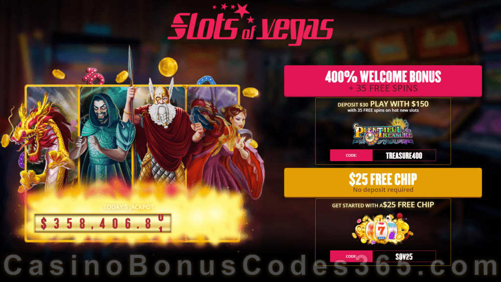 Slots of Vegas 400% Match Bonus plus 35 FREE Spins with $25 FREE Chip on Top