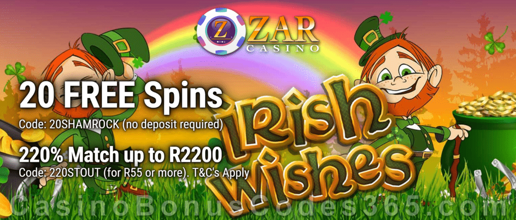 ZAR Casino 20 FREE Spins on Saucify Irish Wishes plus 220% + 10 FREE Spins on Irish Wishes Match Bonus New Players Promotion