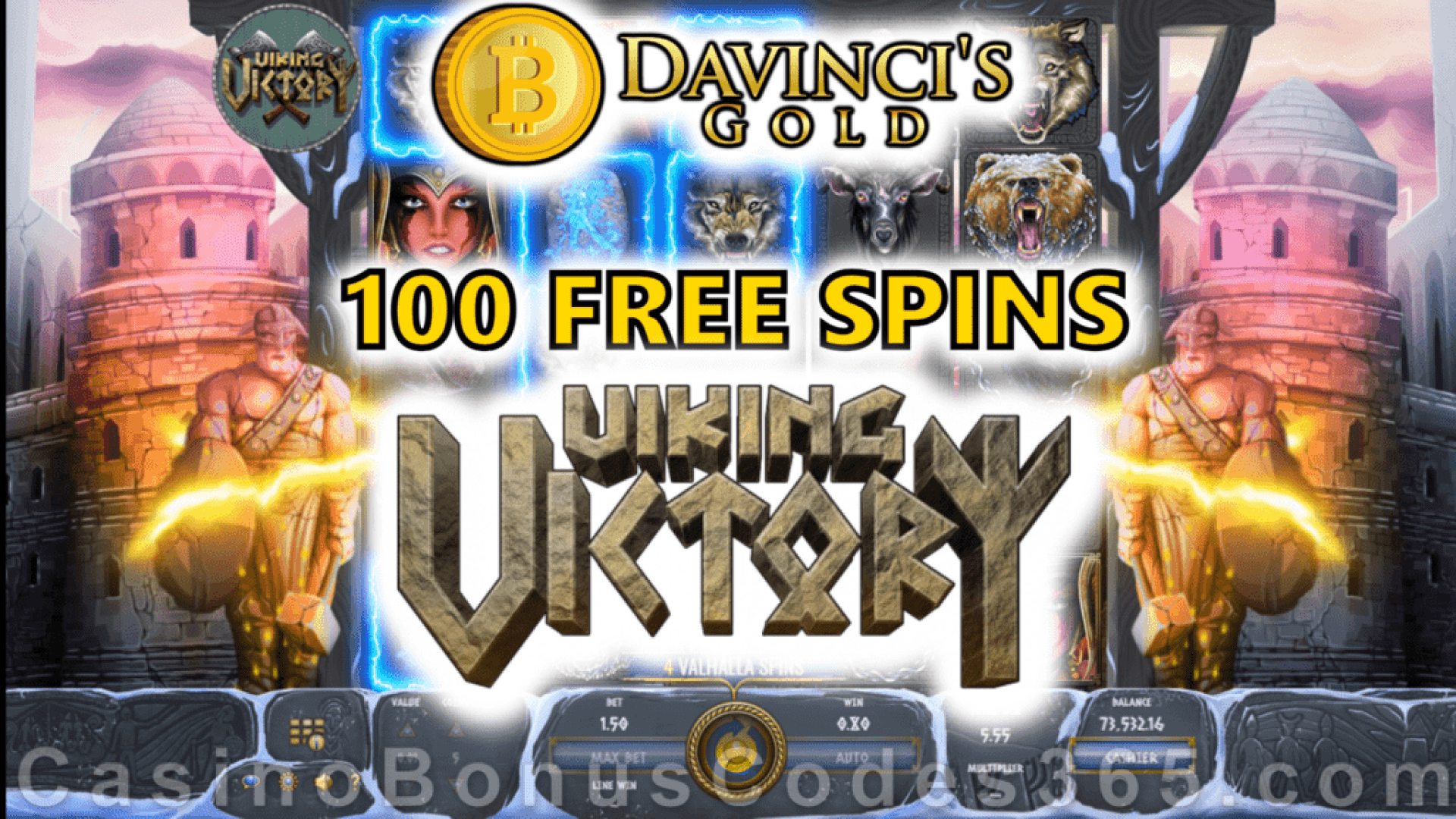 Da Vinci's Gold 100 FREE Spins on Viking Viktory New Game Special Deal Offer
