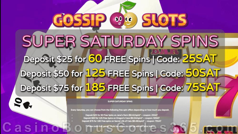 Gossip Slots FREE Spins Saturday