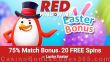 RED PingWin Casino 75% Match Bonus plus 20 FREE Red Tiger Lucky Easter Spins Easter Promo