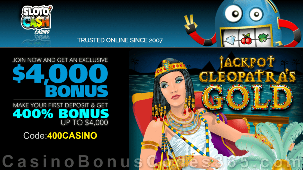 SlotoCash Casino RTG Jackpot Cleopatra's Gold 400% Welcome Bonus